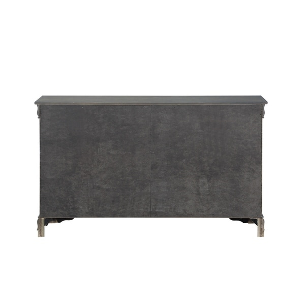 Six Drawers Wooden Dresser With Metal Handles And Bracket Base Dark Gray