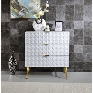 Three Drawers Wooden Dresser with Textured Front Panel and Tapered Legs, White and Gold