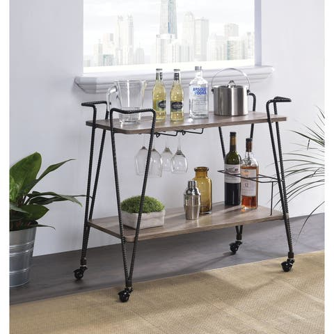 Industrial Style Metal Serving Cart with Wooden Shelves and Wine Rack, Brown and Black