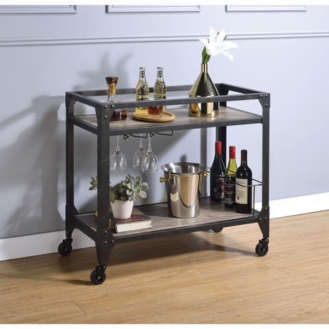 Metal Framed Serving Cart with Wooden Shelves with Wine Bottle Holder, Brown and Gray