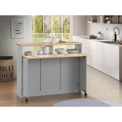 Wooden Kitchen Cart with Nine Open Storage Compartments and Drop Leaf, Brown and Gray