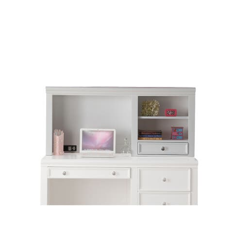 Contemporary Wood Computer Hutch with Two Open Shelves and One Drawer, Brown