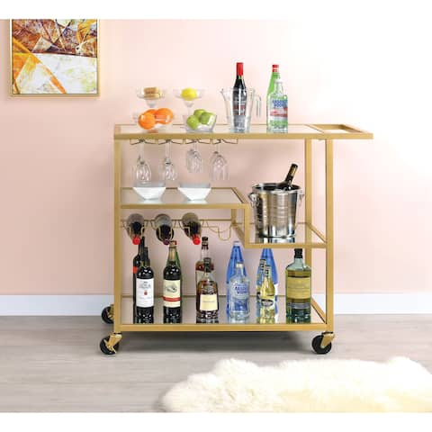 Metal Framed Serving Cart with Wine Bottle Holder and Stemware, Gold and Clear