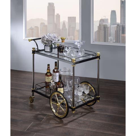 Metal Framed Serving Cart with Tempered Glass Shelves and Side Handle, Black and Clear