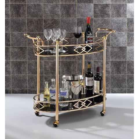 Two Tier Metal Framed Serving Cart with Designer Side Rails and Glass Shelves, Gold and Black