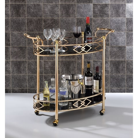Two Tier Metal Framed Serving Cart with Designer Side Rails and Glass Shelves, Gold and Black