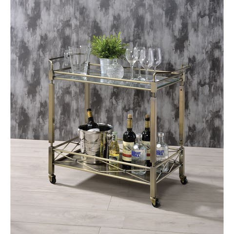 Metal Framed Serving Cart with Glass Top and Open Bottom Shelf, Antique Gold and Clear