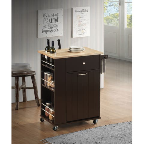 Spacious Wooden Kitchen Cart with Bottle Holders and Towel Rack, Brown
