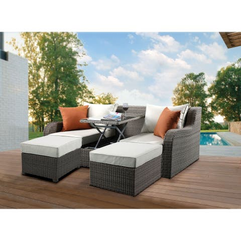 Resin Wicker and Metal Patio Convertible Sofa with Two Ottomans, Beige and Gray, Set of Three