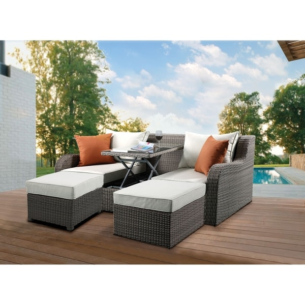 Resin Wicker and Metal Patio Convertible Sofa with Two Ottomans, Beige and Gray, Set of Three. Opens flyout.