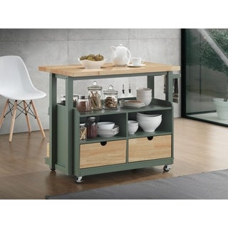 Dual Tone Wooden Kitchen Cart with Three Open Shelves and Three Drawers, Brown and Green