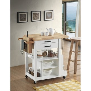 Dual Tone Wooden Kitchen Cart with Two Storage Drawers and Knief Holders, Brown and White