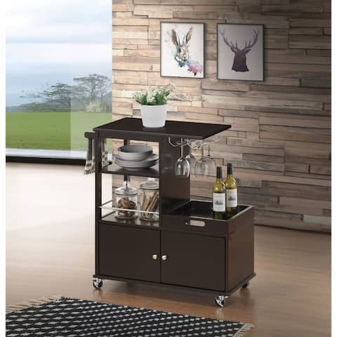 Wooden Kitchen Cart with Serving Tray and Spacious Storage, Brown