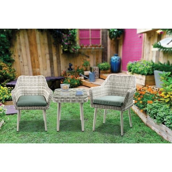 Resin Wicker and Metal Patio Bistro Set with Two Chairs and Table, Beige and Green, Set of Three. Opens flyout.