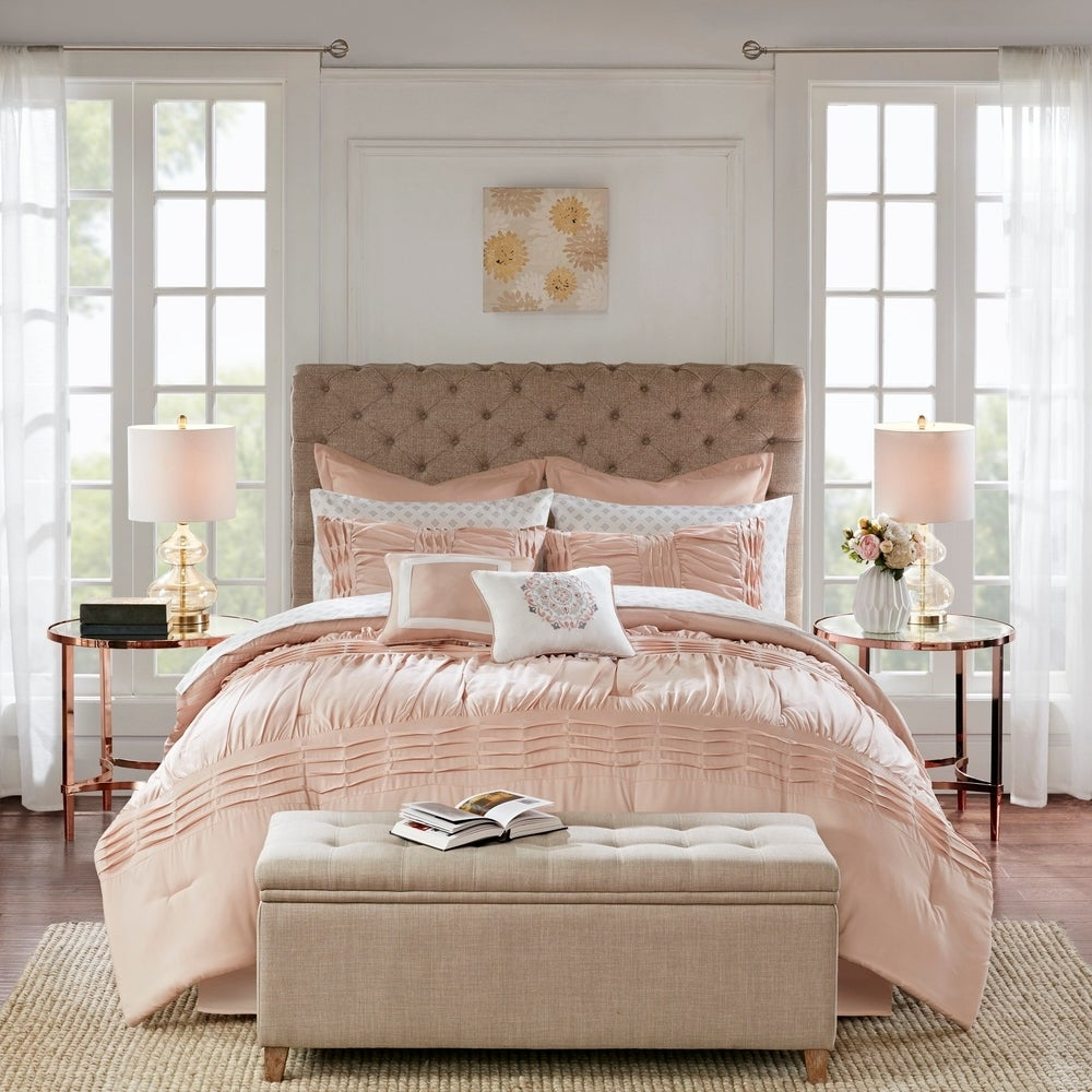 Madison Park Essentialmadison Park Essentials Rosalia Blush 16 Piece Queen Size Complete Bedding Set With 2 Sheet Sets As Is Item Queen Dailymail
