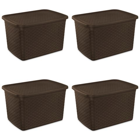 Sterilite Storage Bins 17 Gallon Espresso Weave - Case of 4