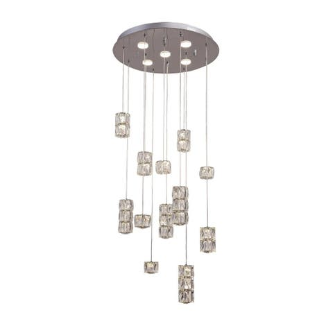 Chrome Metal LED Lighting with Clear Crystal Hanging Pendants