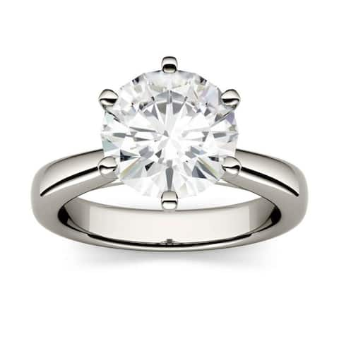 Moissanite by Charles & Colvard 14k 3.10 TGW Gold Round Solitaire Ring