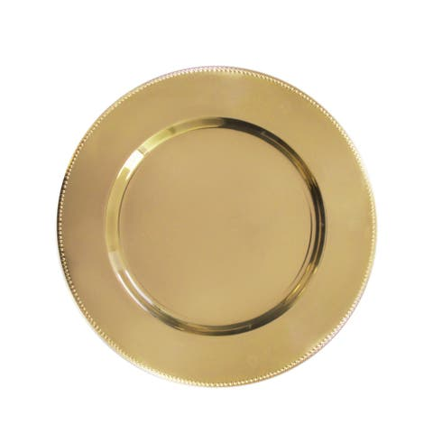 """beaded gold set/4 charger plate 13""""d"""