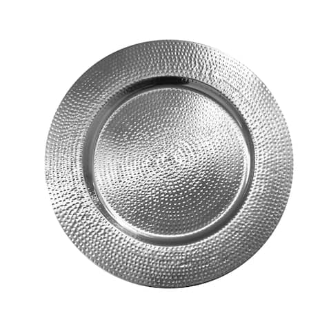 """hammered silver s/4 charger plate 13""""d"""
