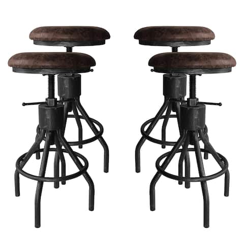 Paris Industrial Adjustable Backless Barstool in Silver Brushed Gray with Brown Fabric Seat - Set of 4