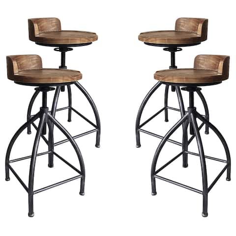 Fuchsia Industrial Adjustable Metal Barstool in Silver Brushed Gray with Brown Wood Seat - Set of 4