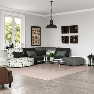 Porch & Den McCarthy Modular Sectional in Multi Black and Grey Fabrics