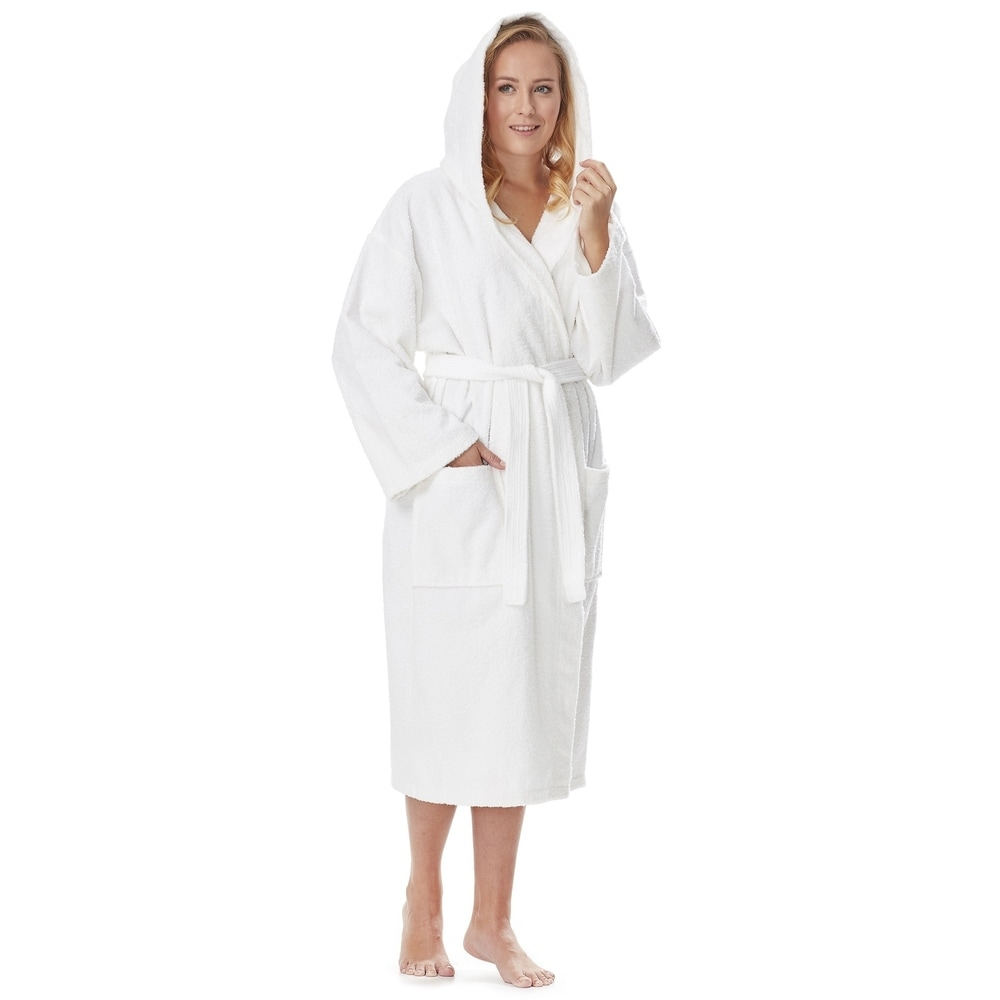 Womens Turkish Cotton Hooded Bathrobe