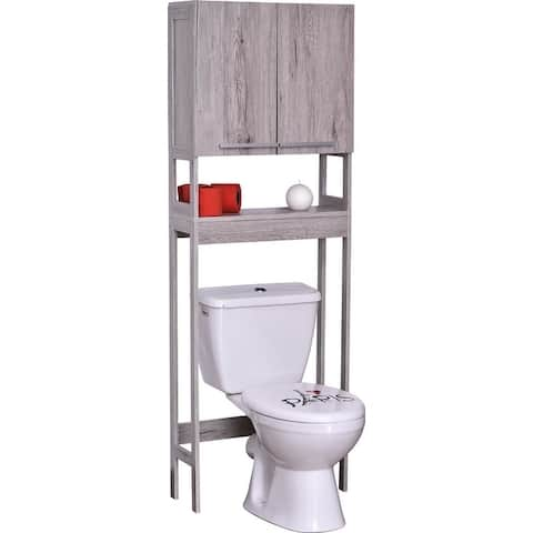 "Over The Toilet Space Saver Cabinet 2 Doors 1 Shelf Gray Oak - 23 3/4""L x 8 1/2""W x 68 3/8""H"