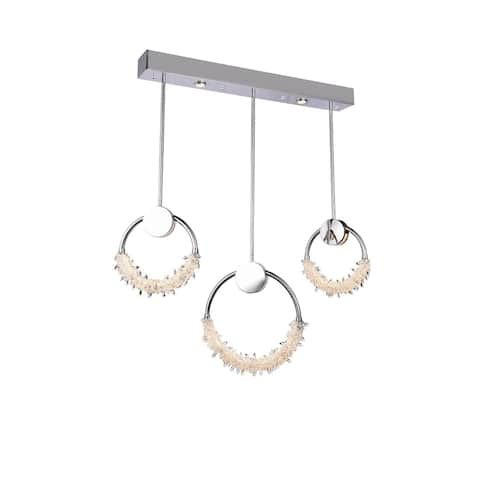 Chrome Stainless Steel LED Single Pendant Lighting with Crystal Beading