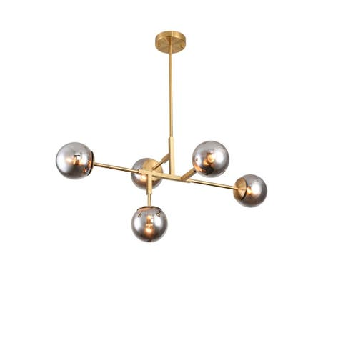 Gold Metal Ceiling Fixture with Smoke Glass Shades