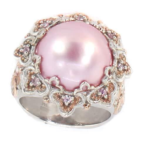 Michael Valitutti Palladium Silver Pink Mabe Pearl & Pink Sapphire Ring