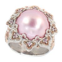 Michael Valitutti Palladium Silver Pink Mabe Pearl & Pink Sapphire Ring
