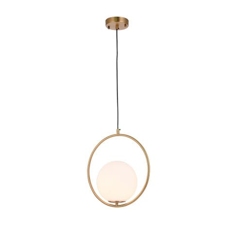 Gold Metal Single Pendant Lighting with Milk White Glass Shade