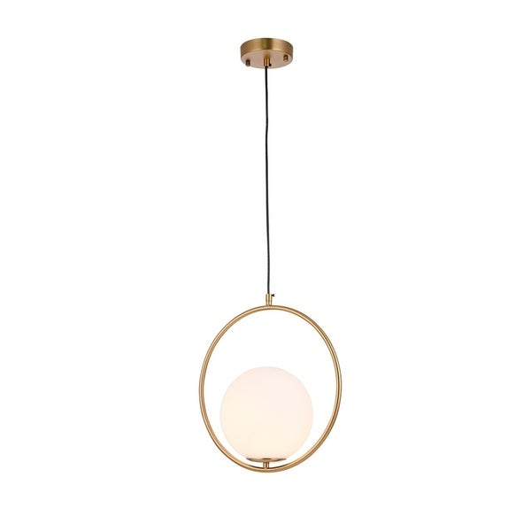 Gold Metal Single Pendant Lighting with Milk White Glass Shade. Opens flyout.