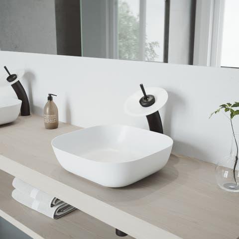 VIGO Matte Black Waterfall Matte Stone Disk Bathroom Vessel Faucet (As Is Item)