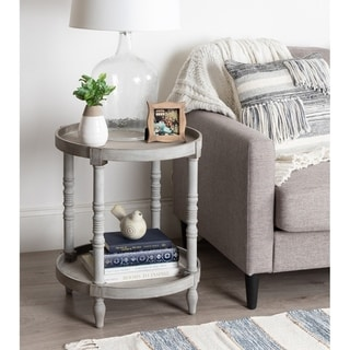 Kate and Laurel Bellport Round Wood Side Table with Shelf - 20x20x24