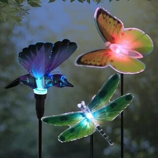 Solar Fiber Optic Fliers Garden Stakes Set of 3