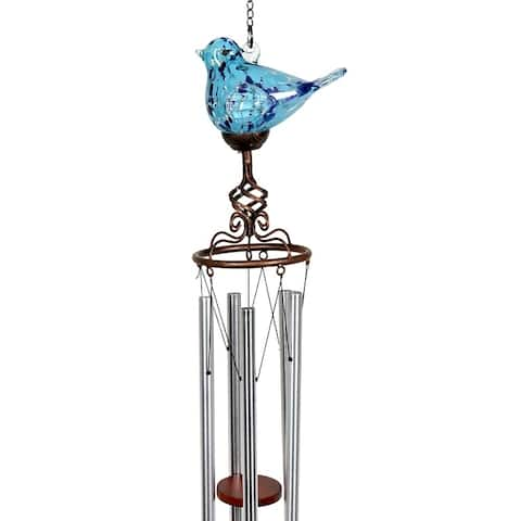Solar Glass Bird Windchime