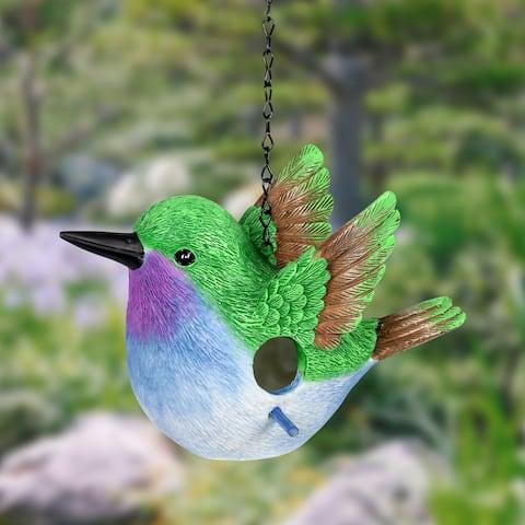 9.5 Inch Blue Hummingbird Bird House