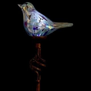 Solar Glass Bird Finial Garden Stake