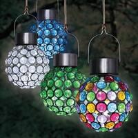 Solar Hanging Acrylic Ball Lights Set of 4