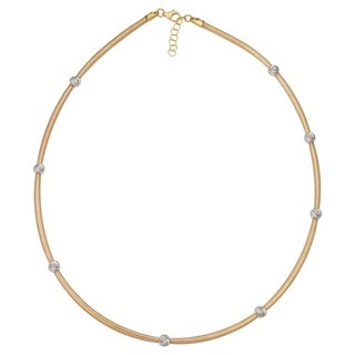 14k Two Tone Yellow Gold Mesh White Gold Bead Station Necklace Adjusts From 16 To 17 Inches