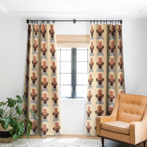 Deny Designs Pug and Octopus Blackout Curtain Panel (2 Size Options)