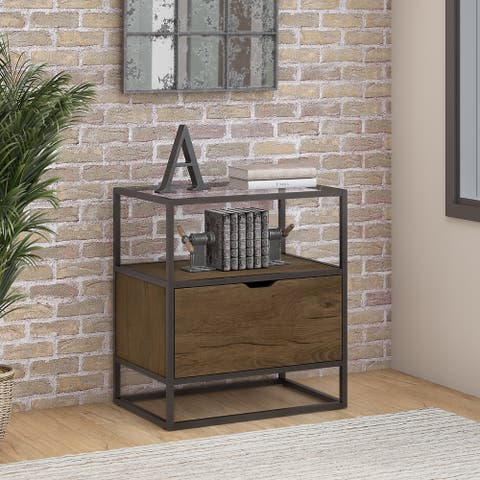 Bush Furniture Anthropology Lateral File Cabinet in Rustic Brown