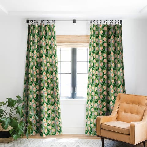 Deny Designs Roses Green Blackout Curtain Panel (2 Size Options)