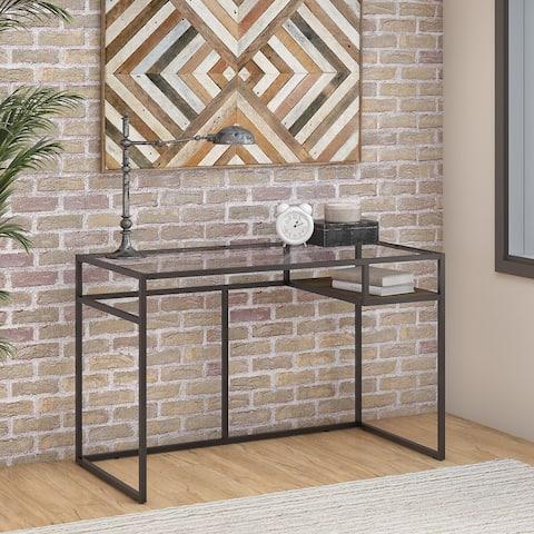Bush Furniture Anthropology 48W Glass Top Writing Desk with Shelf