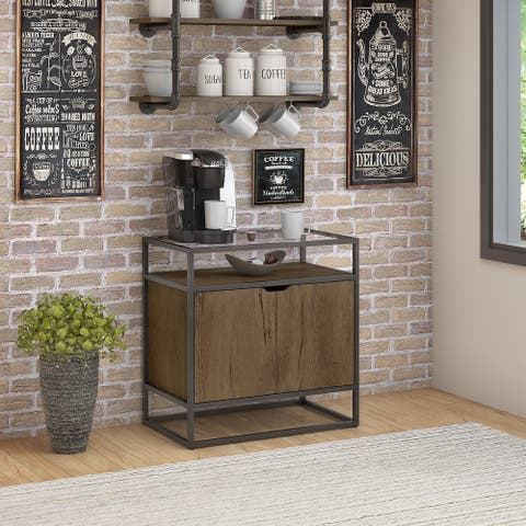 Bush Furniture Anthropology Coffee Bar with Storage in Rustic Brown