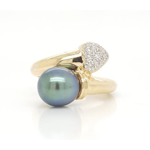 Southsea Pearl and Round Diamond Bypass Ring