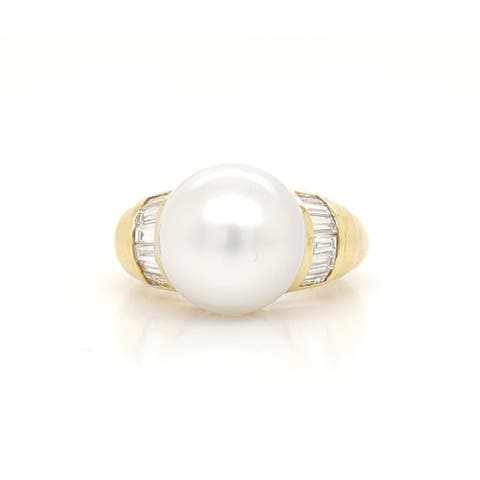 Southsea Pearl and Tapered Diamond Ring